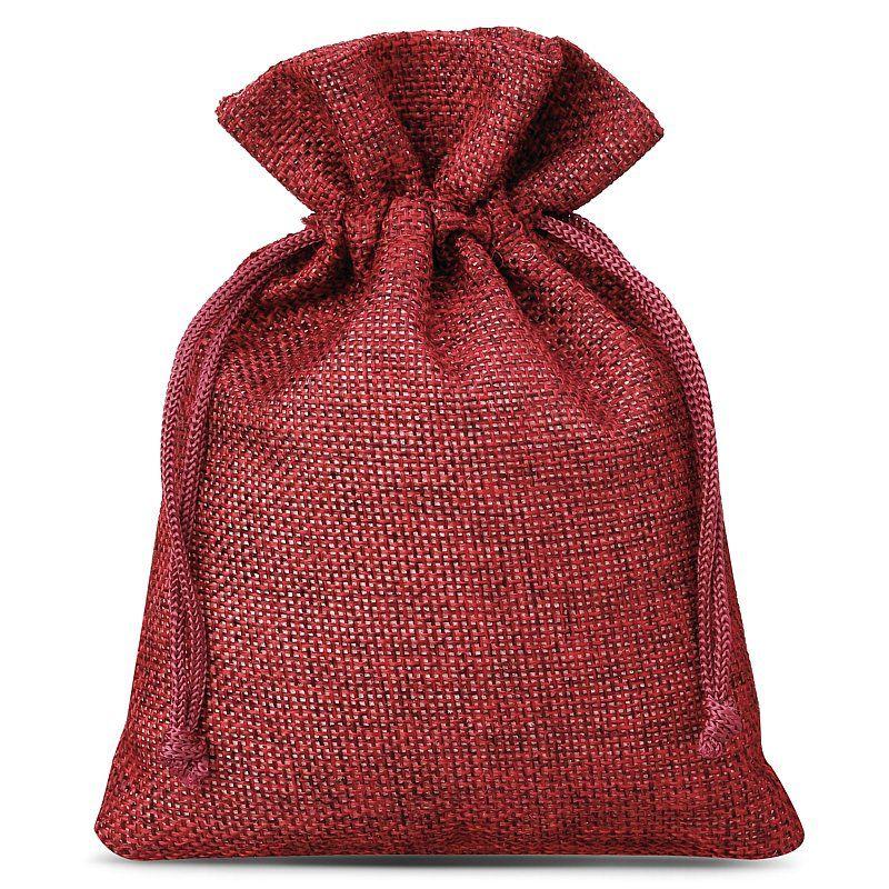 10 pcs Burlap bags 13 x 18 cm - burgundy