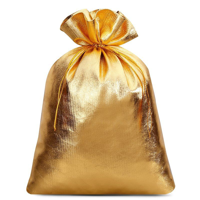10 pcs Metallic bags 18 x 24 cm - gold