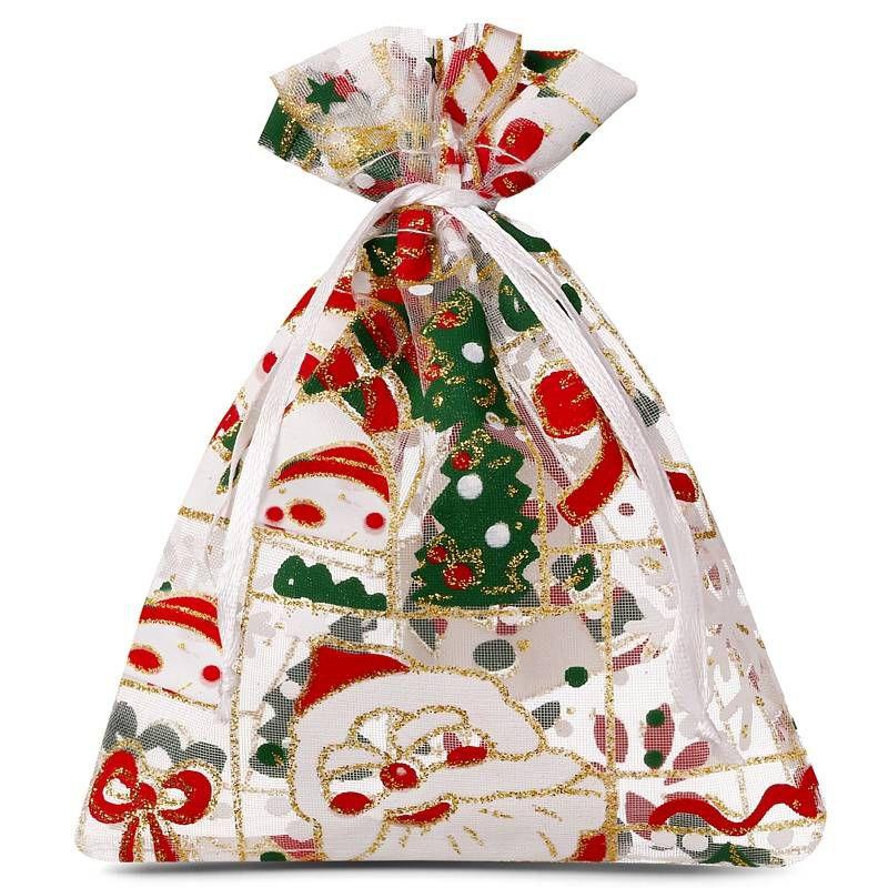 10 pcs Organza bags 10 x 13 cm - Christmas / 5