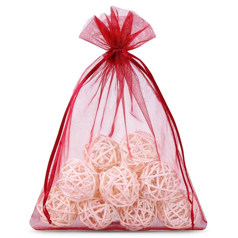 10 pcs Organza bag 22 x 30 cm - burgundy Decorative Organza bags