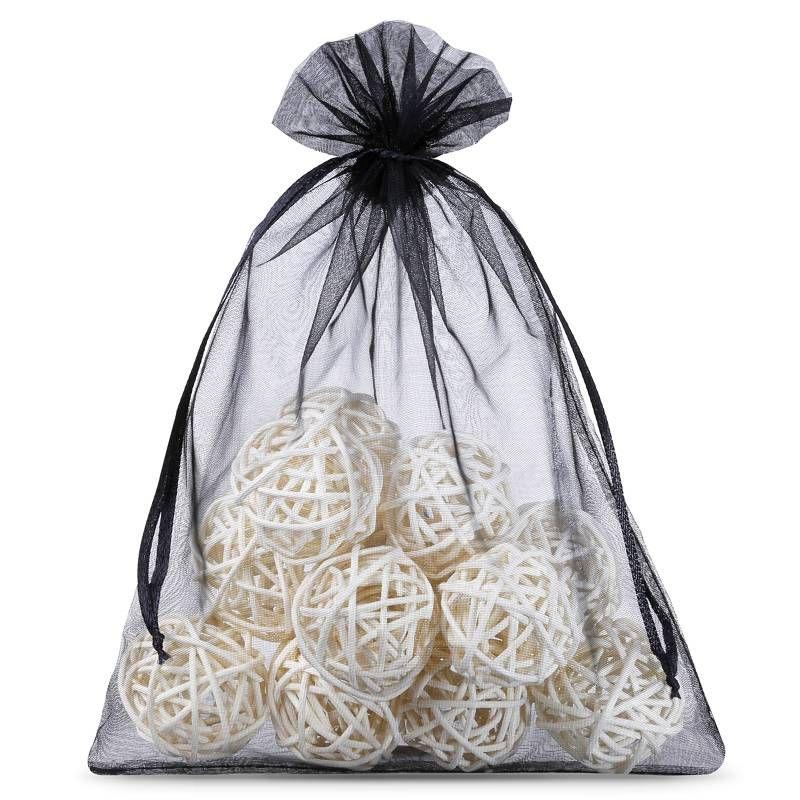 10 pcs Organza bags 22 x 30 cm - black