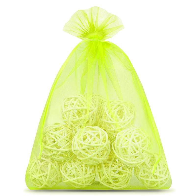 10 pcs Organza bags 22 x 30 cm - neon green