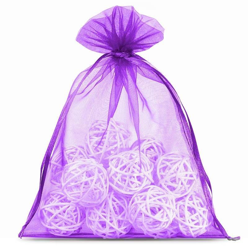 10 pcs Organza bags 22 x 30 cm - dark purple
