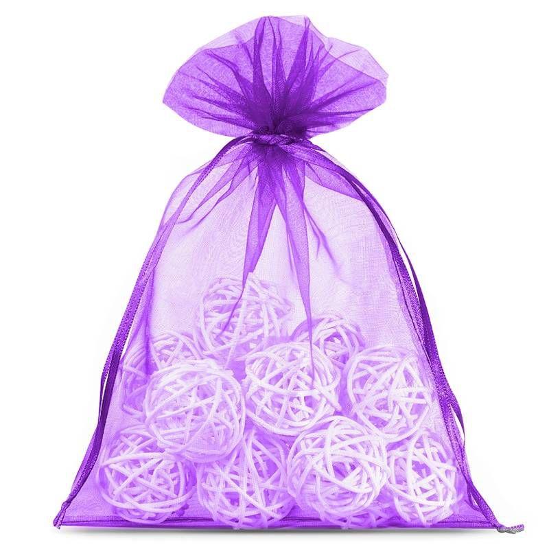 10 pcs Organza bags 15 x 20 cm - dark purple