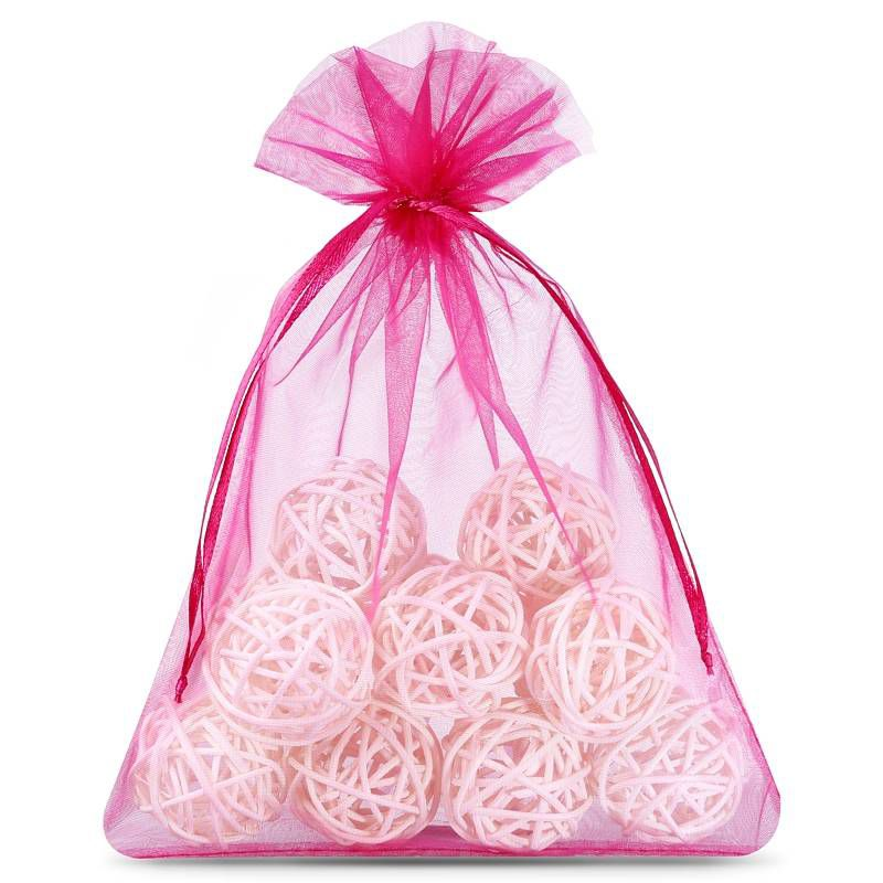 25 pcs Organza bags 13 x 18 cm - dark rose