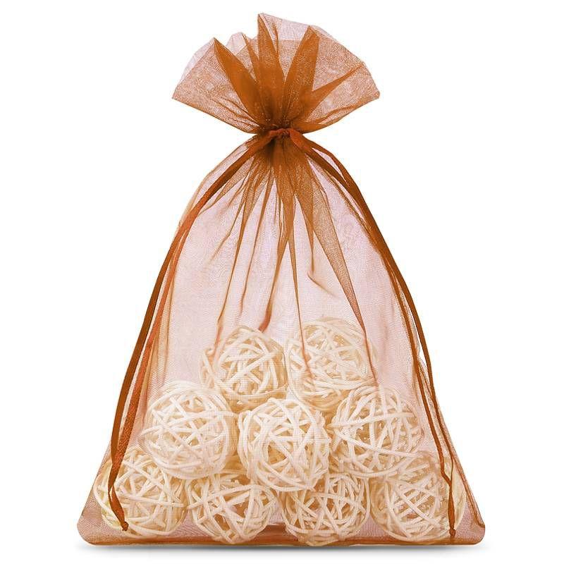 25 pcs Organza bags 13 x 18 cm - brown