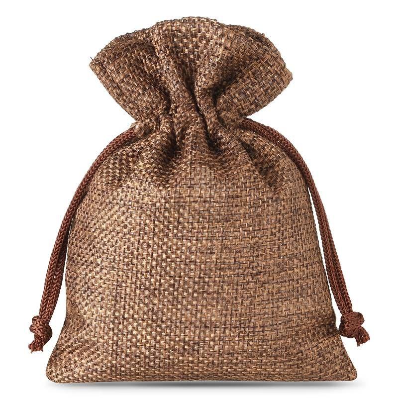 10 pcs Burlap bag 10 x 13 cm - dark natural