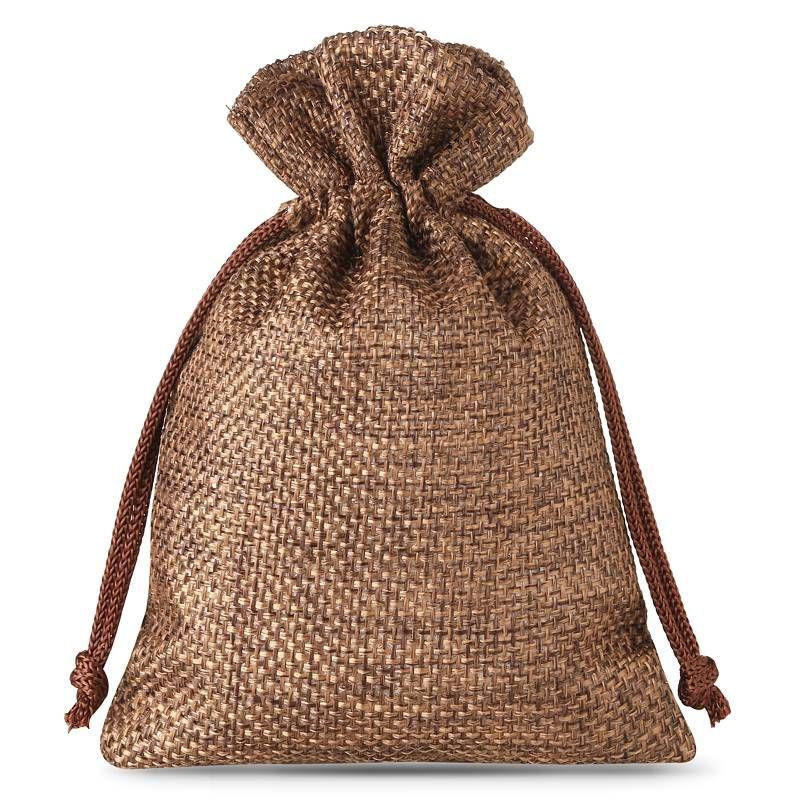 10 pcs Burlap bag 12 x 15 cm - dark natural
