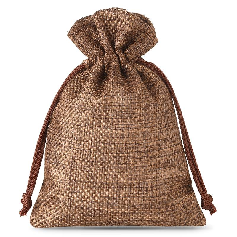 10 pcs Burlap bag 12 x 15 cm - dark natural