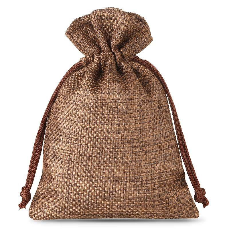 10 pcs Burlap bag 13 x 18 cm - dark natural
