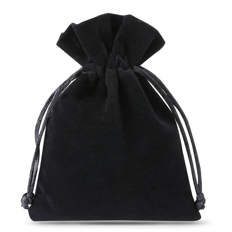 10 pcs Velvet pouches 8 x 10 cm - black