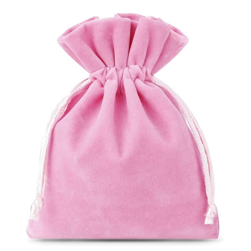 10 pcs Velvet pouches 8 x 10 cm - light pink