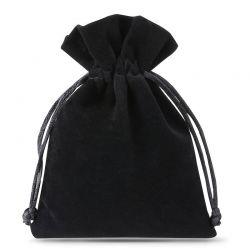 10 pcs Velvet pouches 10 x 13 cm - black Velvet bags