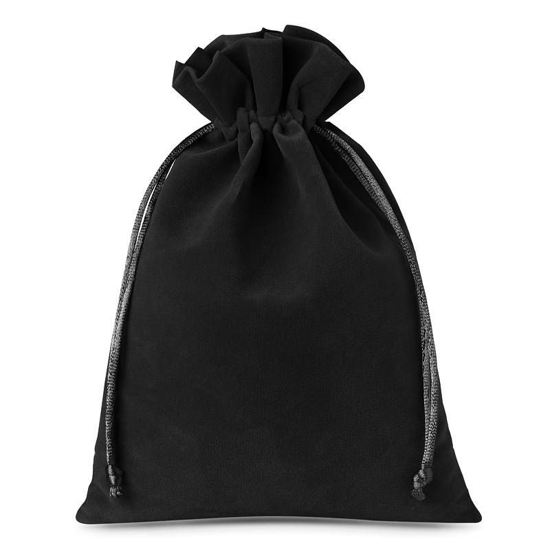 10 pcs Velvet pouches 12 x 15 cm - black