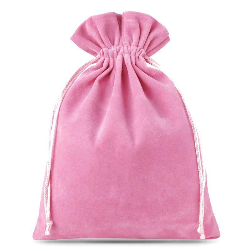 10 pcs Velvet pouches 12 x 15 cm - light pink