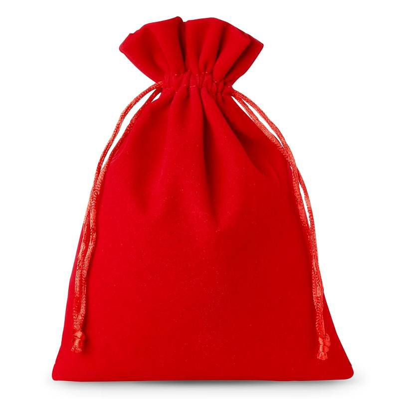 5 pcs Velvet pouches 15 x 20 cm - red