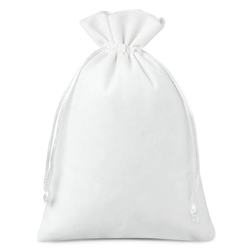 5 pcs Velvet pouches 18 x 24 cm - white