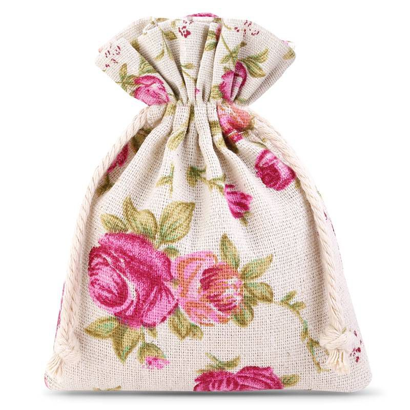 10 pcs Linen bag with printing 10 cm x 13 cm - natural / roses