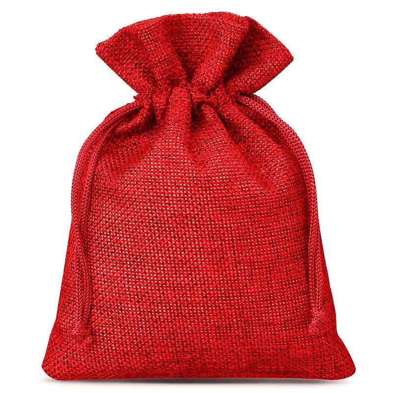 10 pcs Burlap bags 13 x 18 cm - red