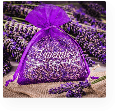 organza bag for lavender with print