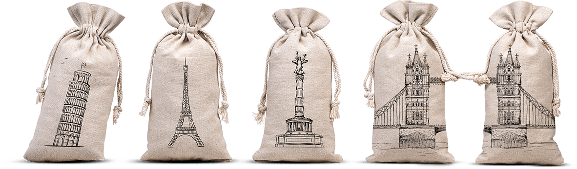 personalized linen pouches