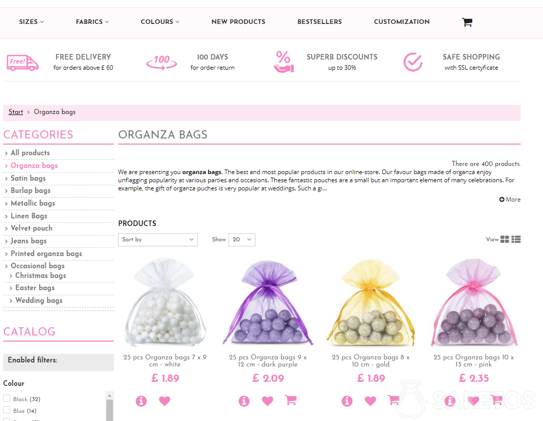 How to buy organza in our online store?