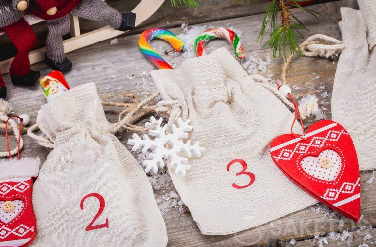 Advent calendar made with linen bags