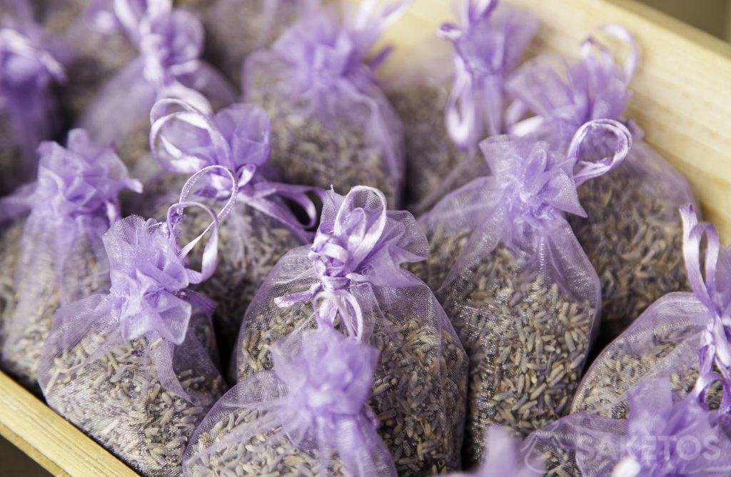 Purple organza bags filled with lavender