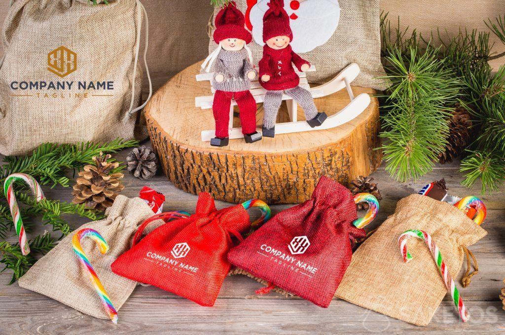 Christmas bags with company logo