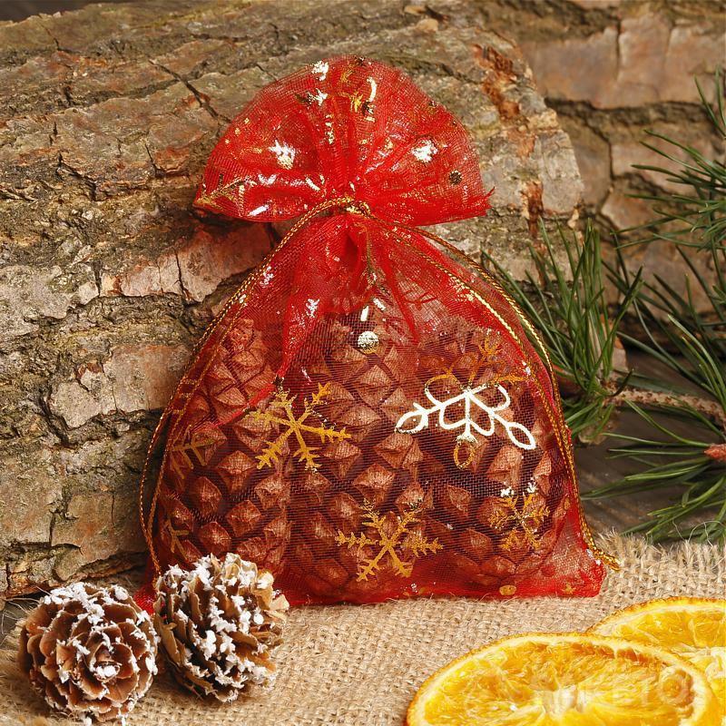 Red organza Christmas bag.