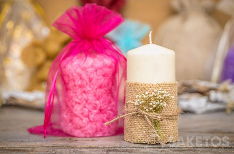 An organza bag is an elegant packaging option for candles