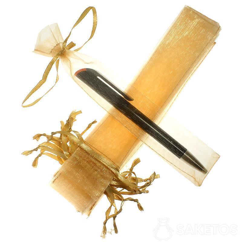 Pen bag made of gold organza