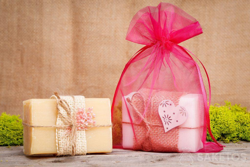 Soap in a pink organza bag