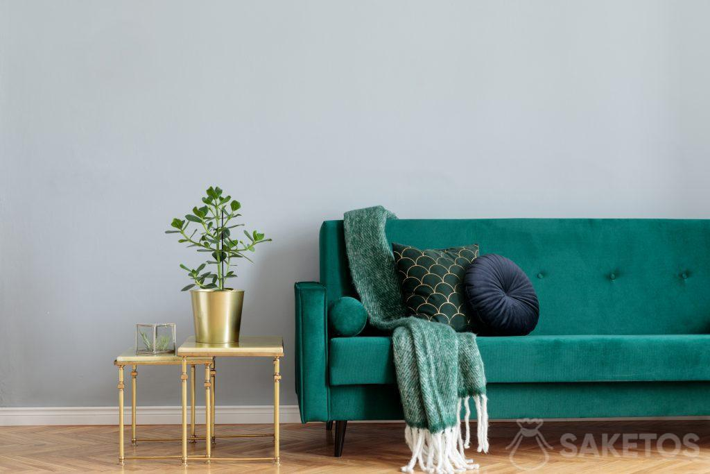 Velour fabric is used for interior design and creating home decorations