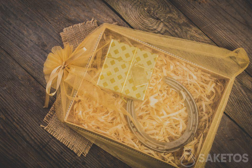 Gifts in an organza bag finished with a decorative ribbon