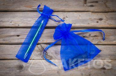 Blue organza bags as packaging for advertising gadgets