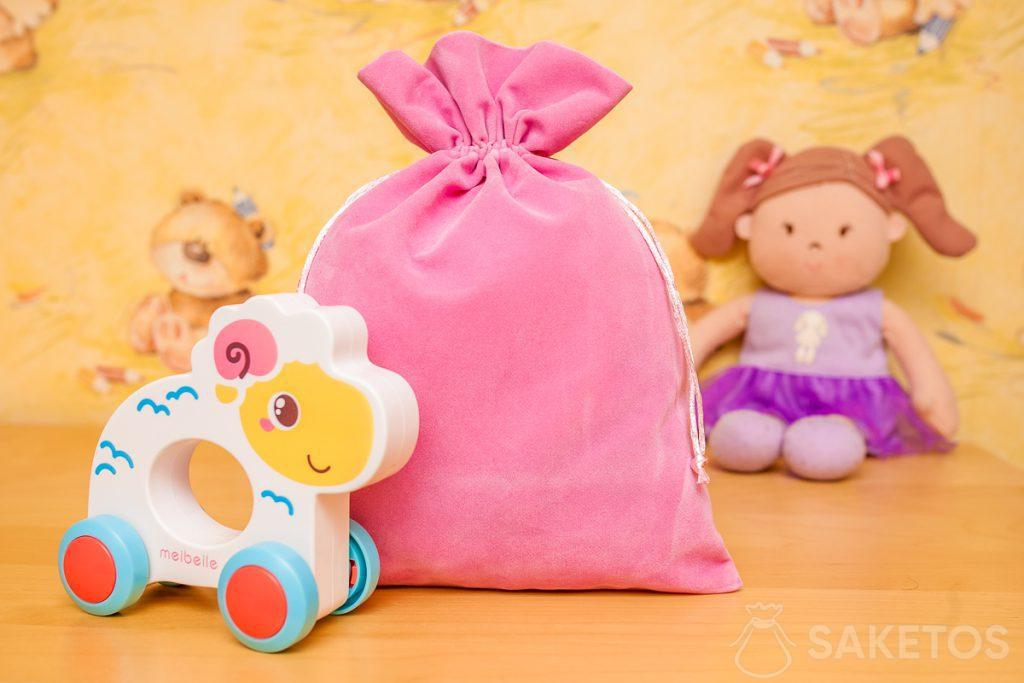 Bags made of velour material are great for decorative storage of toys