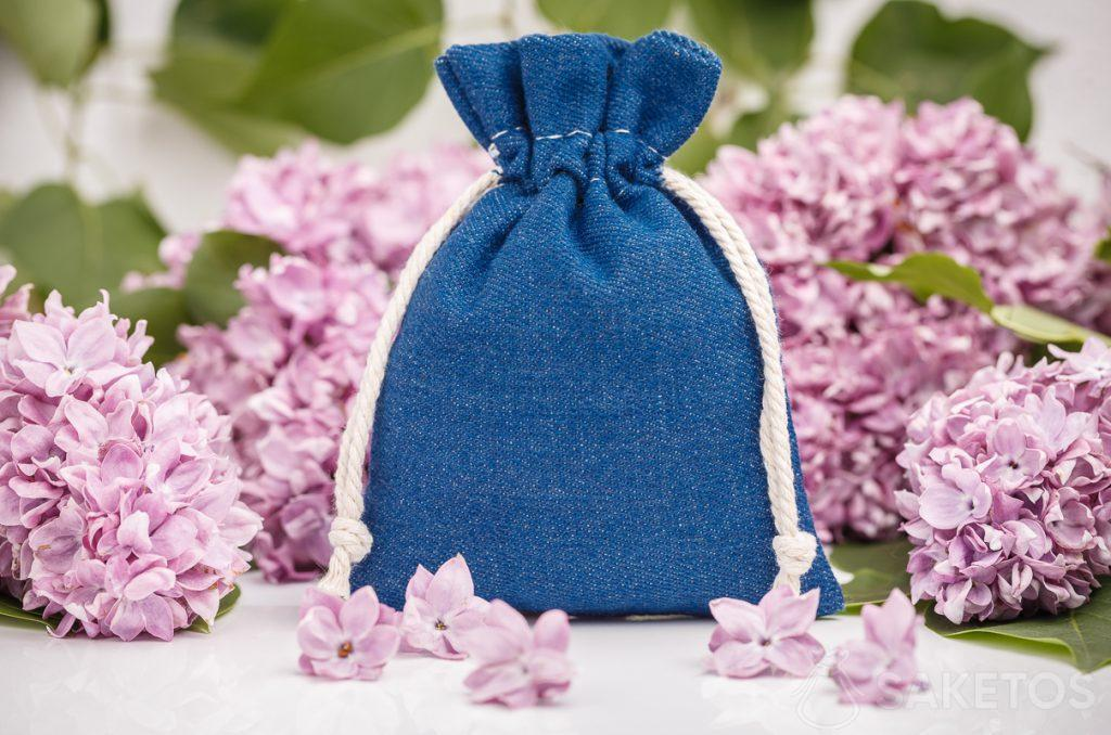 A decorative denim bag
