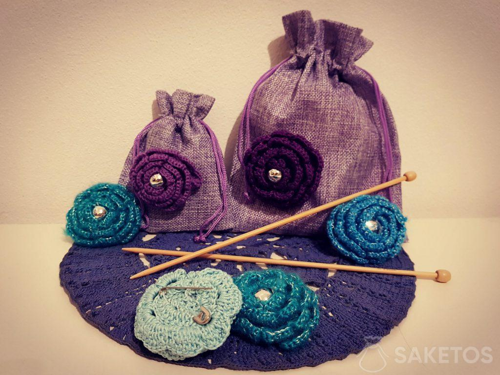 Decorating jute bags to use for gift packaging for loved ones
