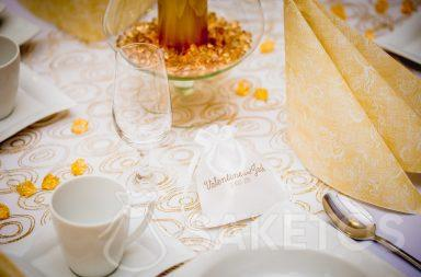 Printed satin pouch for wedding favours for guests