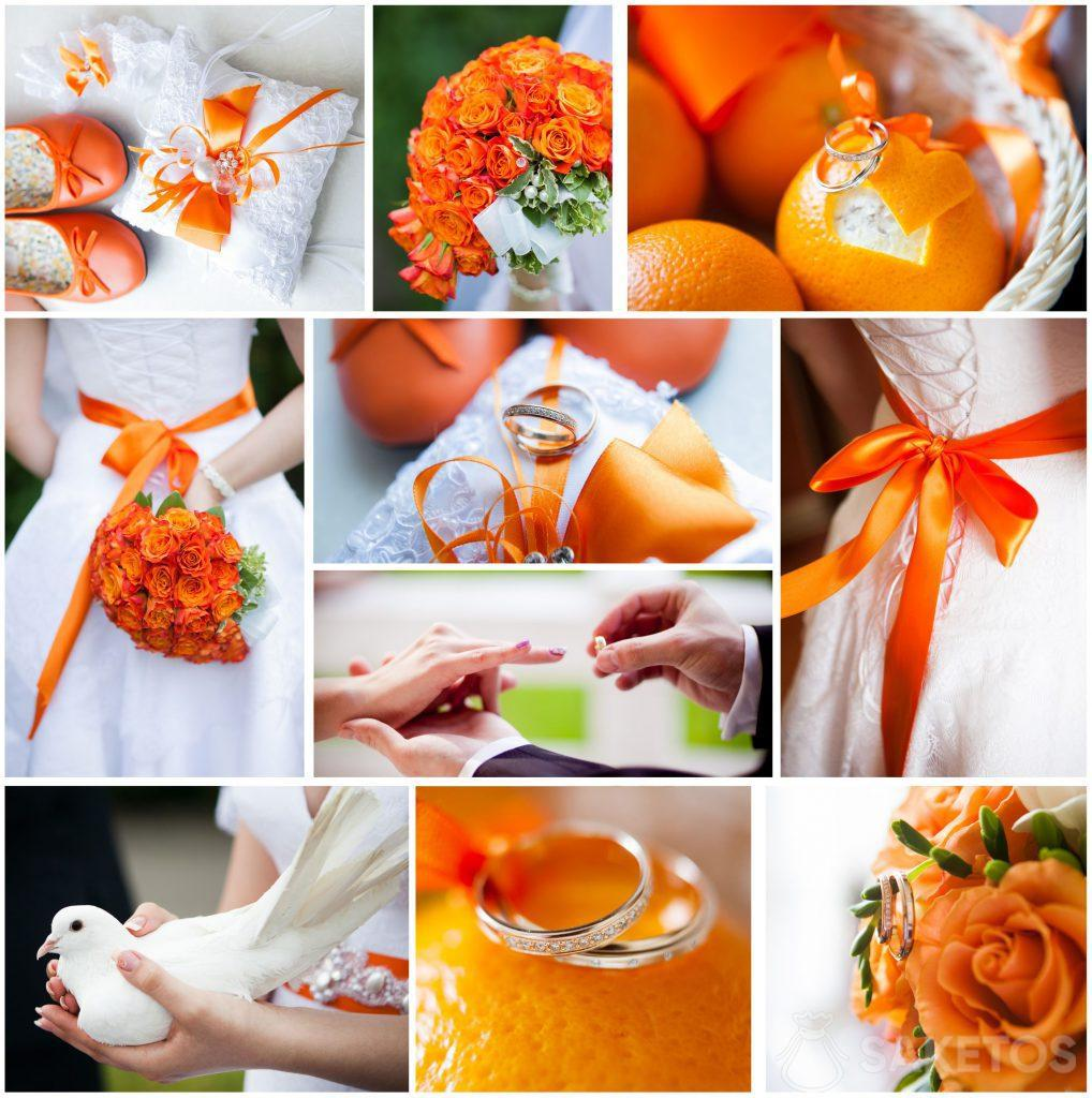 The theme of the wedding and reception - orange