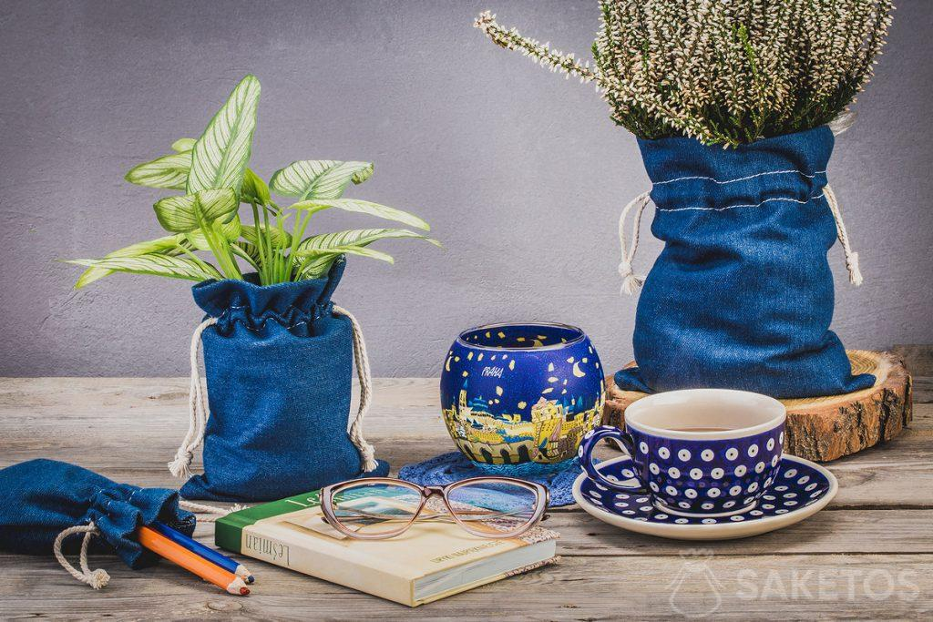 Flowers in denim flower pot covers
