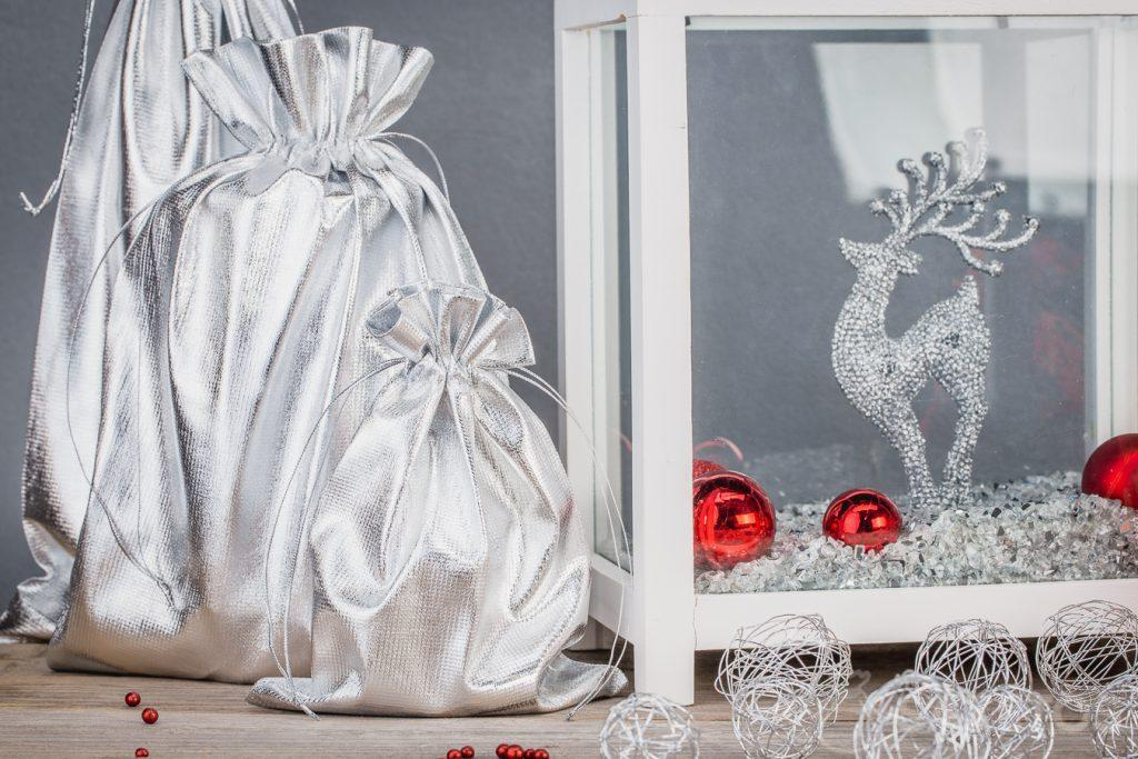 Home decorations made out of silver metallic bags