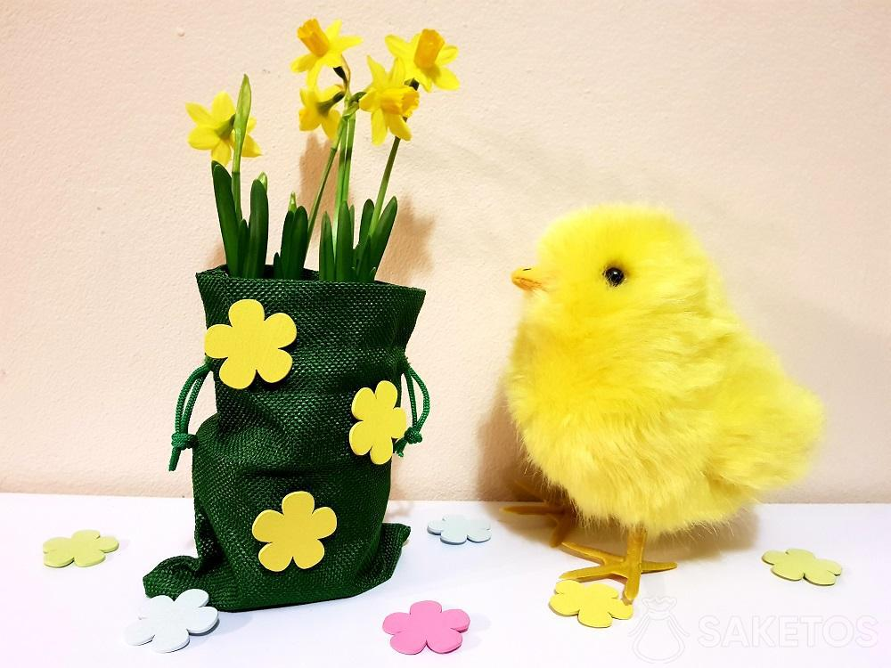 Easter bag decorated with self-adhesive flowers