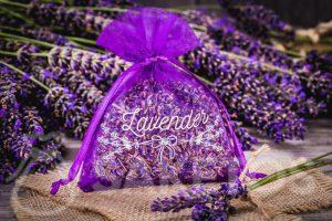 An organza bag with dried lavender