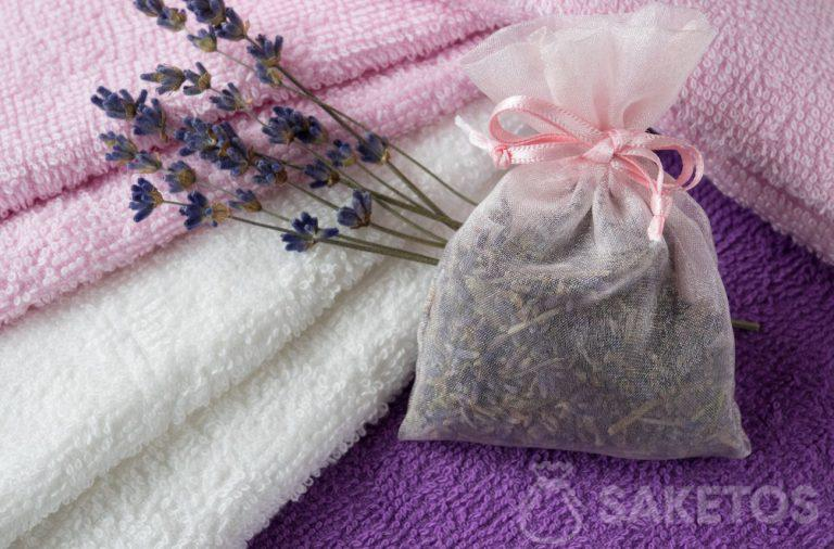 6. A scent bag with lavender inside will impart a beautiful fragrance to your towels and provide protection from clothes moths