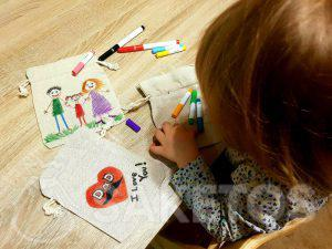 10. A creative game for children - painting linen bags