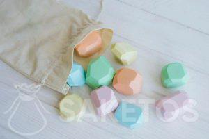 Sensory bags - a linen bag with wooden shapes
