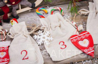 An Advent calendar made from linen pouches