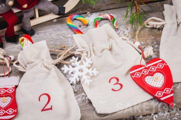 An Advent calendar made from linen pouches